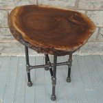 Live Edge Round Walnut Side Table